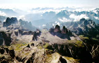 Dolomites: spectacular view on the Dolomite-Mountains