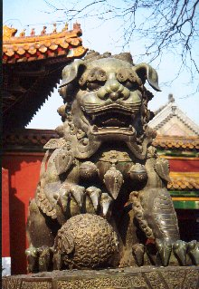 Beijing lama temple lion detail