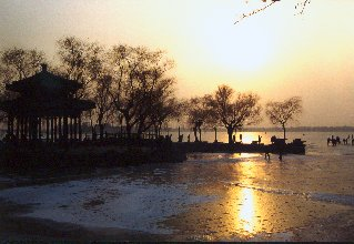 Beijing ,Kunming Lake (frozen up), part of the immense Summer Palace