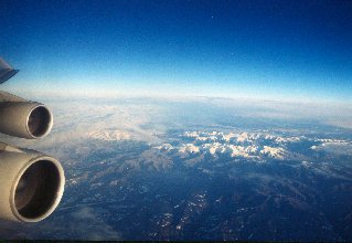 China Airlines Flight CA 932 Frankfurt-Beijing with Boeing 747-400 aircraft, flying over Mongolia