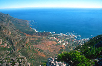 Camps Bay towards Twelve Apostles from Table Mountain