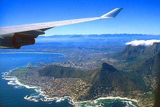 Cape Town Lions Head and Signal Hill from aircraft