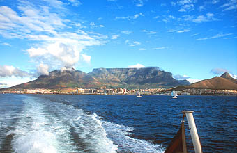 Cape Town Robben Island ferry Table Mountain from Table Bay 2