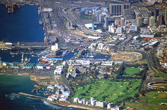Cape Town Waterfront and Metropolitan Golf Course from aircraft