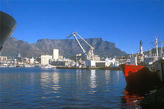Cape Town Waterfront and harbour with Table Mountain