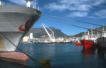 Cape Town Waterfront and harbour with boats and Table Mountain