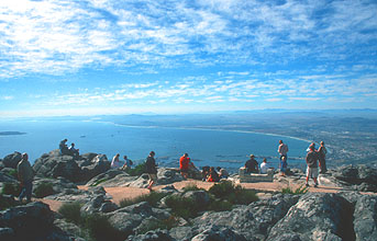 Cape Town panorama from Table Mountain with people