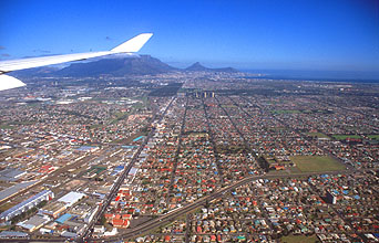 Cape Town panorama from aircraft