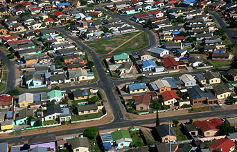 Cape Town suburban houses from aircraft