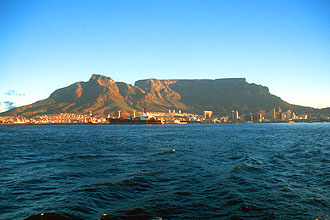 Cape Town with Table Mountain from Table Bay at sunset