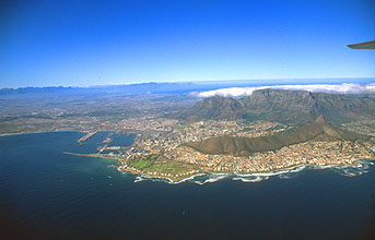 Cape Town with Table Mountain from aircraft