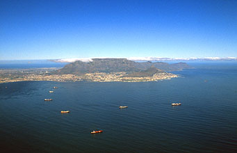 Cape Town with Table Mountain panorama from aircraft
