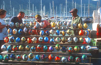 Hout Bay harbour market coloured ostrich eggs