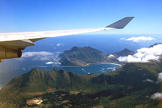 Hout Bay with Chapmans Peak from aircraft