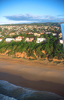 Plettenberg Bay houses and beach from aircraft