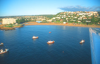 Plettenberg Bay with Beacon Island Resort and Piesang River from aircraft
