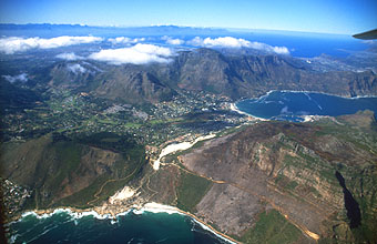 Sandy Bay and Hout Bay from aircraft