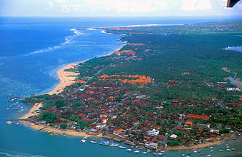Cape Benoa on Nusa Dua Peninsula from aircraft