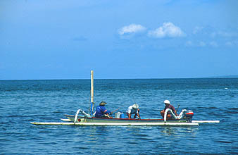 Bali Sanur Beach boat with fishermen