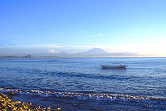 Bali Sanur beach at sunrise with Gunung Agung mountain