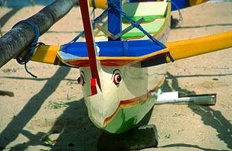 Bali Sanur beach boat with eyes