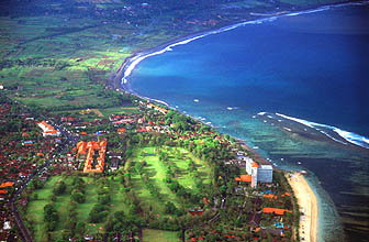 Sanur Beach from aircraft