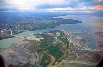 Bali Serangan Island and new bridge from aircraft