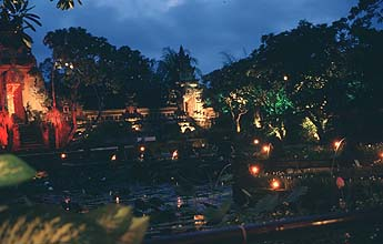 Bali Ubud Lotus Pond Restaurant panorama by night