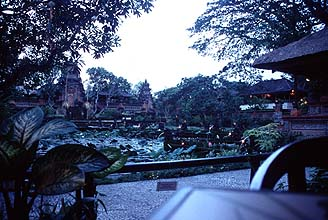 Bali Ubud Lotus Pond Restaurant panorama by twilight