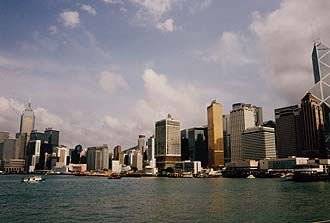 Hong Kong Island skyline and harbour by day