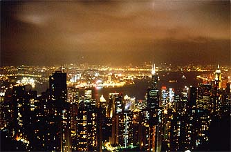 View from Victoria Peak by night on the harbour and Hong Kong Island