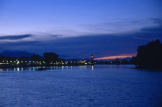 Kuching - Sungai Sarawak River and Waterfront by night