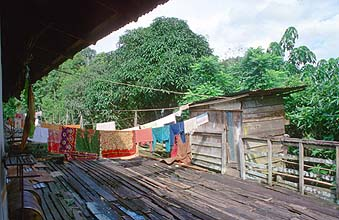 Iban Longhouses: inner verandah is shared with toilet