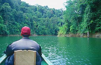 Longboat trip on a jungle river