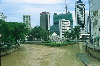 Jamek Mosque and Jamek river after heavy rainfall