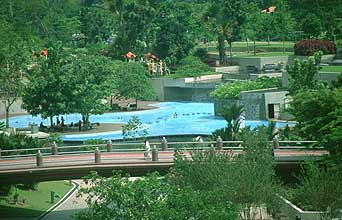 KLCC park with bridge and swimming pool