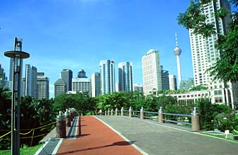 KLCC park with jogging path and skyline
