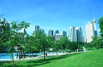 KLCC park with swimming pool and skyline