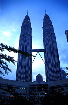 Petronas Towers from park at dawn