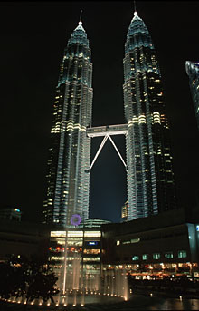 Petronas Twin Towers and KLCC by night