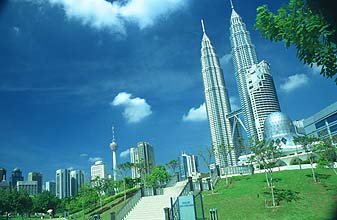 Petronas Twin Towers and KLCC park with Mosque