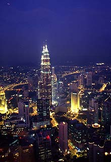 Petronas Twin Towers from KL Tower by night
