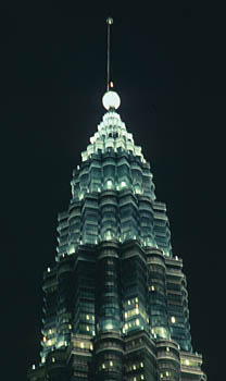 Petronas Twin Towers top by night