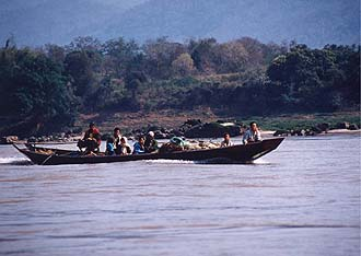 Boat on the Mekong river, near Pak Ou Cave