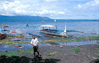 Lake Taal with boats