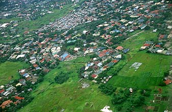 Manila residential outskirts from aircraft
