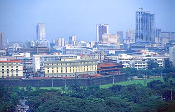 Manila skyline with Rizal Park and Intramuros detail