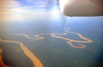 Miri Baram river from aircraft on flight to Mulu