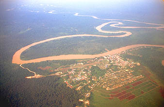 Miri Marudi town from aircraft on flight to Mulu