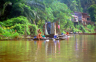 Miri houses on the Sungai Niah river 1